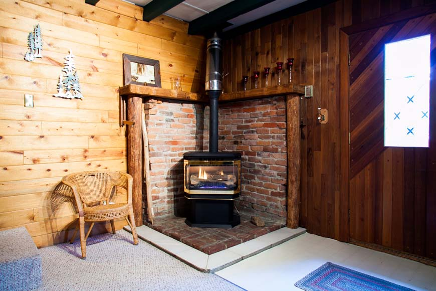 Coho Cabin fireplace