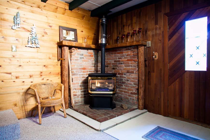 Coho Cabin fireplace